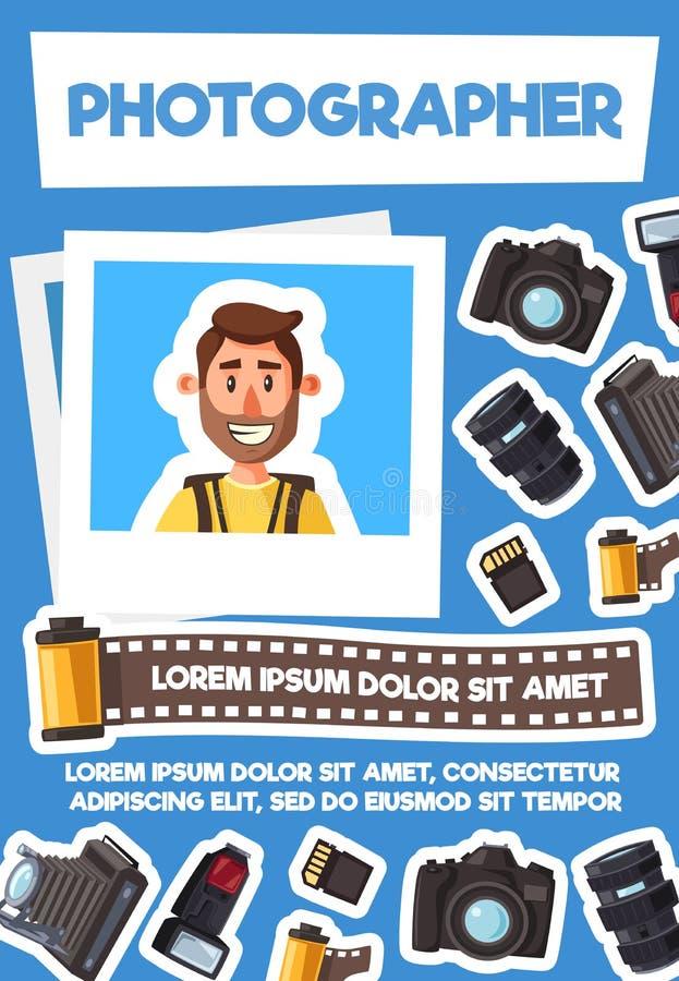 摄影师和照片设备,传染媒介 库存例证