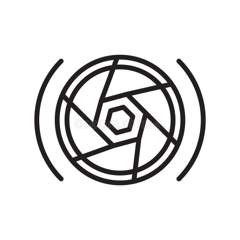 摄影师在白色背景隔绝的象传染媒介、摄影师标志、线或者线性标志和标志设计在概述样式 库存例证