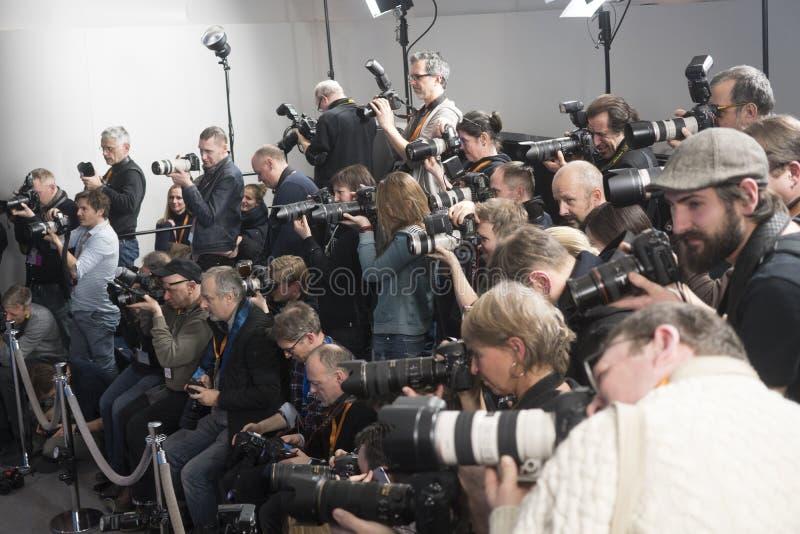 摄影师在第68 Berlinale期间的工作 免版税库存照片
