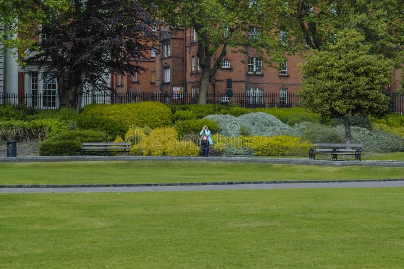 摄影师在绿色公园 免版税库存照片