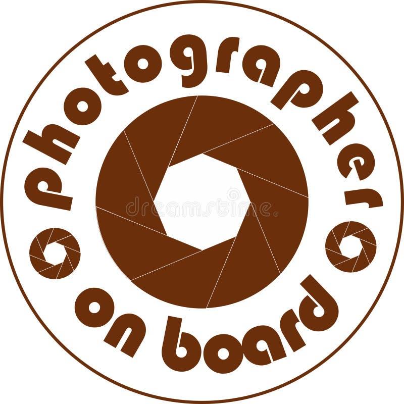 摄影师在船上汽车贴纸白色 库存照片