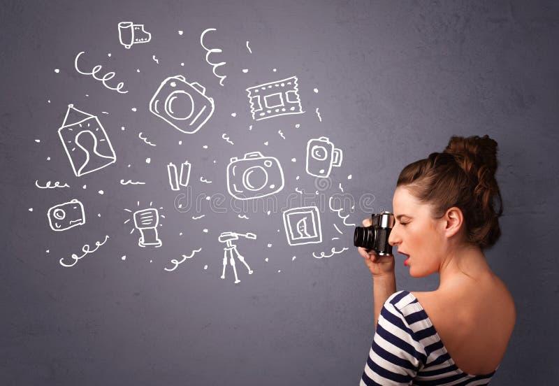摄影师女孩射击摄影象 免版税图库摄影