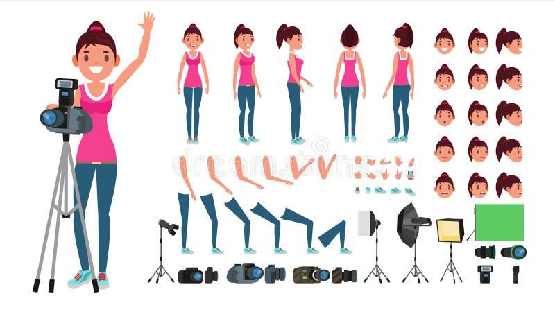 摄影师女性传染媒介 生气蓬勃的妇女创作集合 全长,前面,边,后面看法 被隔绝的平的动画片 向量例证