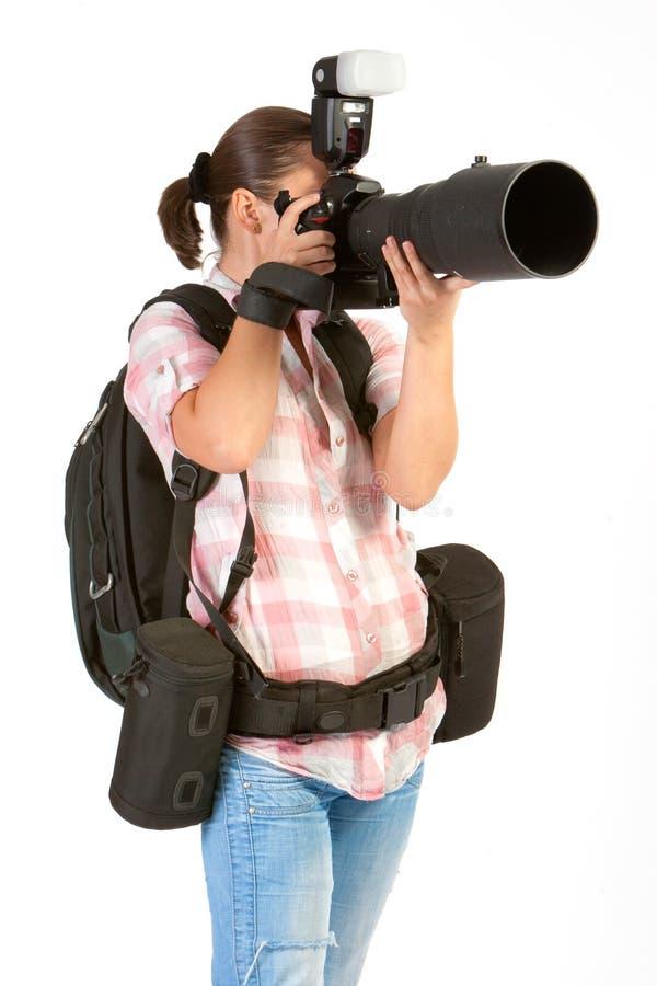摄影师妇女年轻人 免版税库存图片