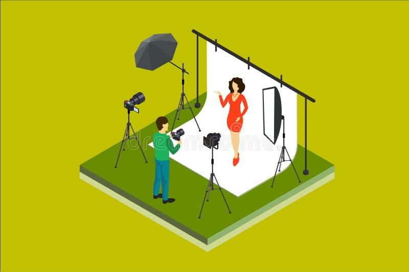 摄影师射击模型在演播室 照片设备数字照相机, softbox,聚光灯,背景,伞 等量 库存例证