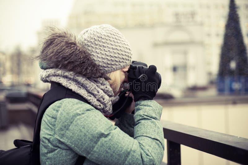 摄影师工作在过程中 库存照片