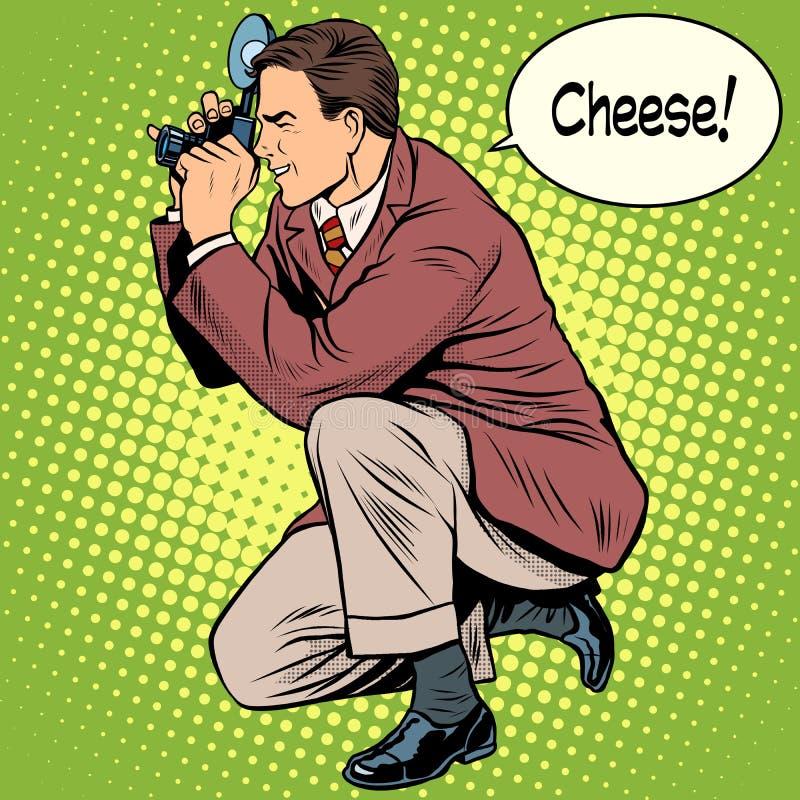 摄影师拍摄的乳酪微笑 皇族释放例证