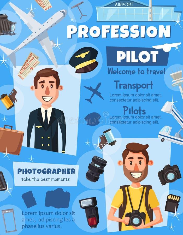 摄影师新闻工作者和航空飞行员 向量例证