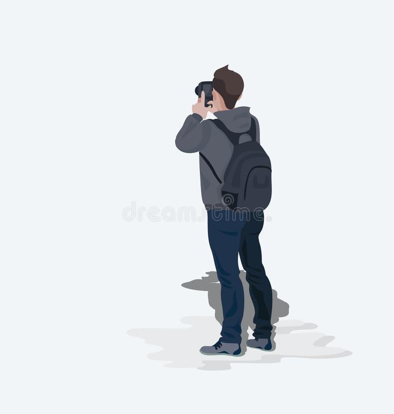 摄影师旅游年轻人 库存例证