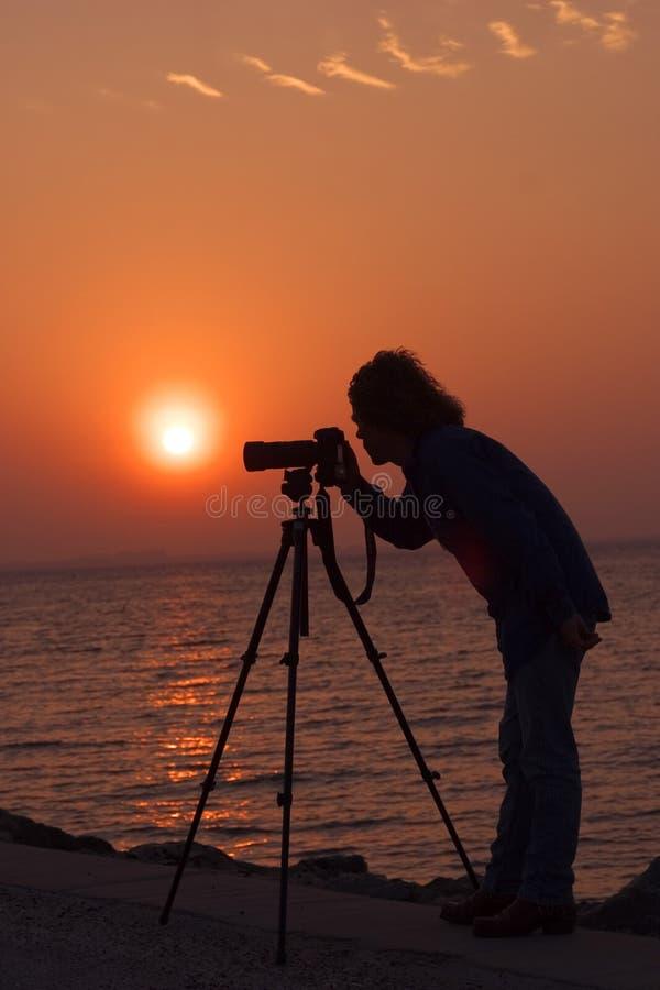 摄影师日出 免版税库存照片