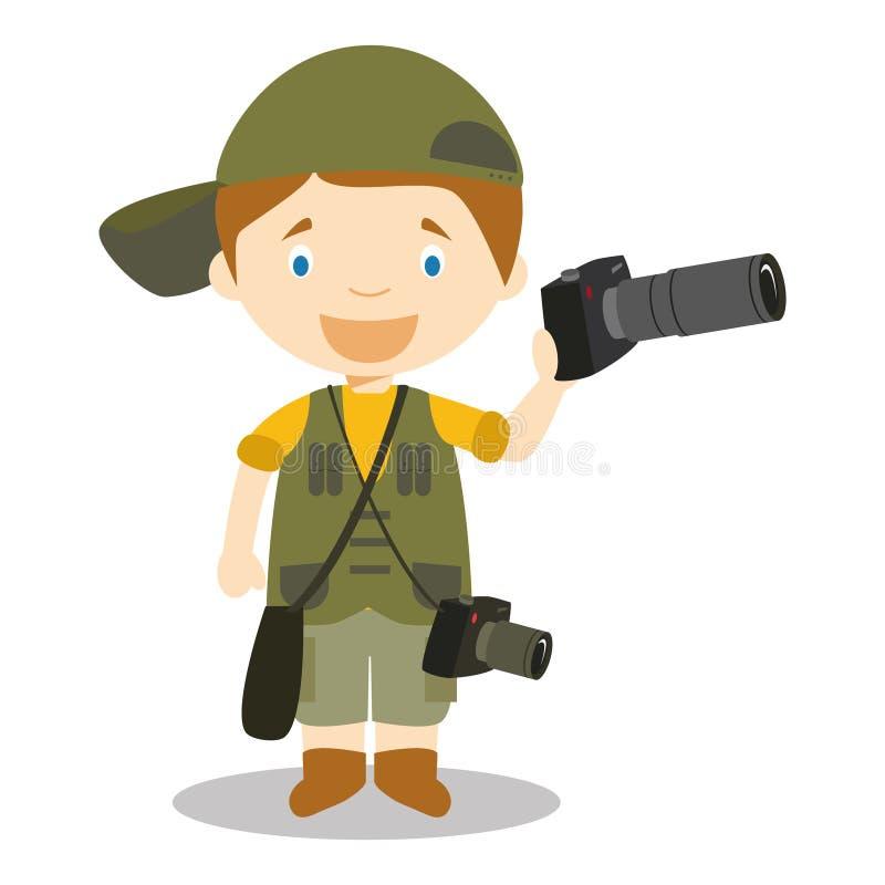 摄影师的逗人喜爱的动画片传染媒介例证 向量例证