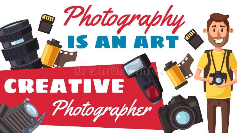 摄影师行业和照片设备 向量例证