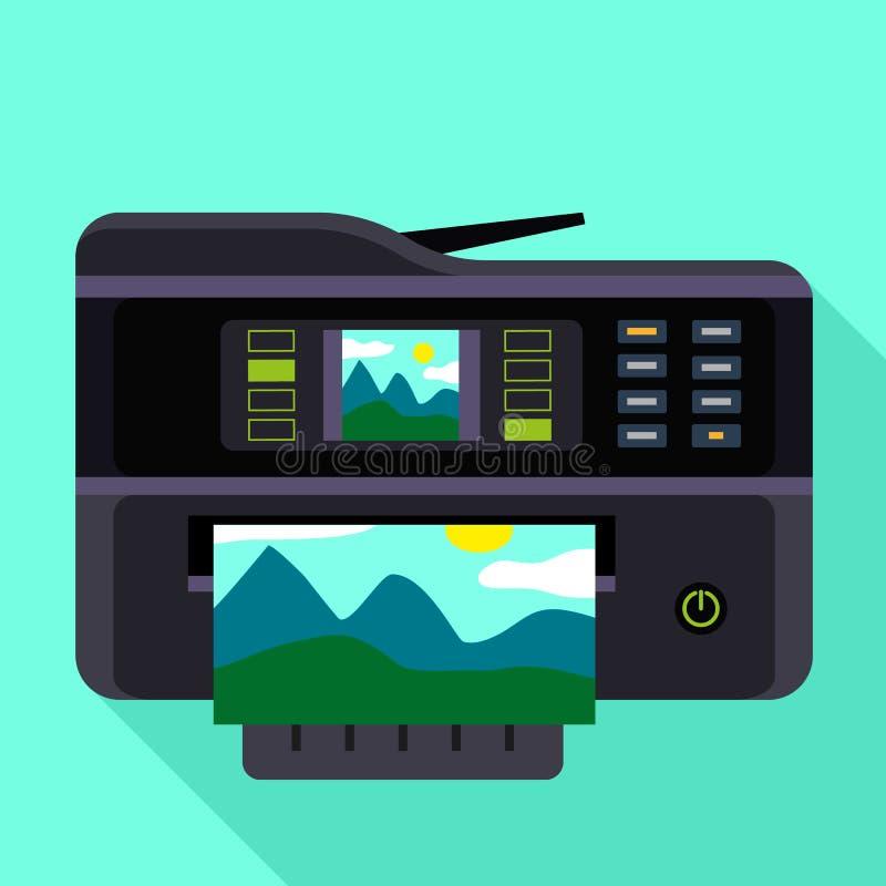 摄影打印机图标,平的样式 向量例证