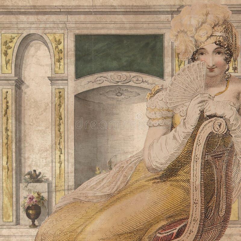 摄政时代-简・奥斯丁被启发-数字式纸背景-国家家庭的摄政英国-浪漫数字式纸 皇族释放例证