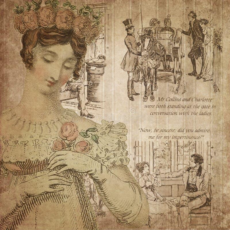 摄政时代-简・奥斯丁被启发-数字式纸背景-玫瑰-自豪感&偏见 向量例证