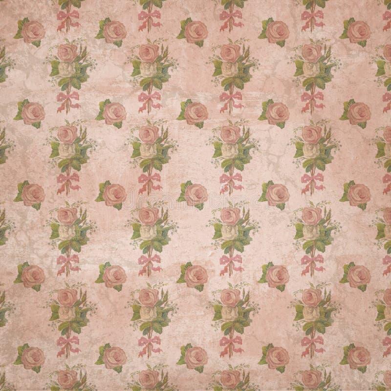 摄政时代-简・奥斯丁被启发-葡萄酒破旧的别致的玫瑰样式-数字式纸背景-玫瑰-自豪感&偏见 皇族释放例证