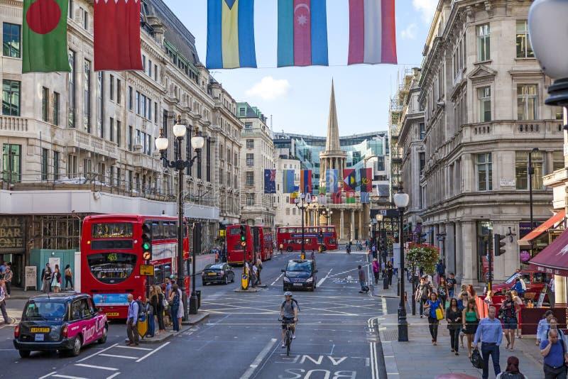 摄政的街道,伦敦 库存照片