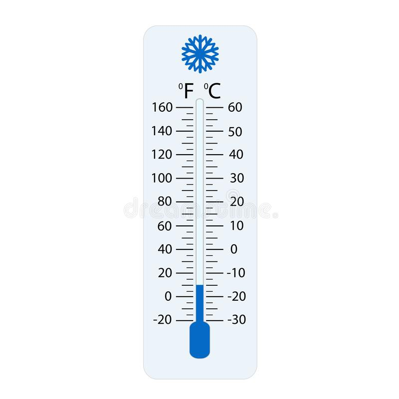 摄氏和华氏气象学温度计测量热或冷,传染媒介例证 温度计设备显示热或 向量例证