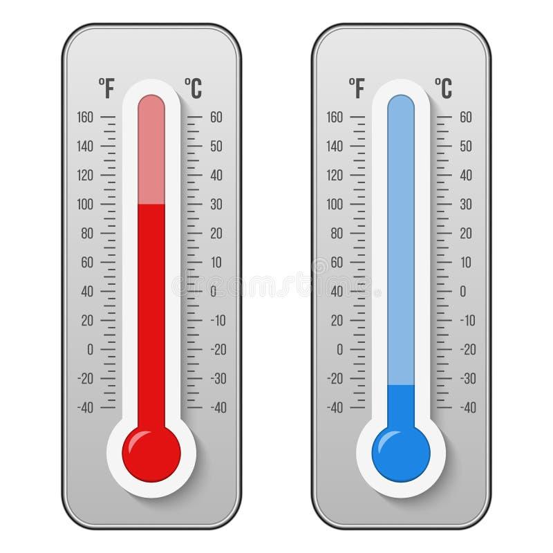 摄氏的创造性的传染媒介例证,华氏气象学在背景隔绝的温度计标度 热,热,冷的标志 向量例证
