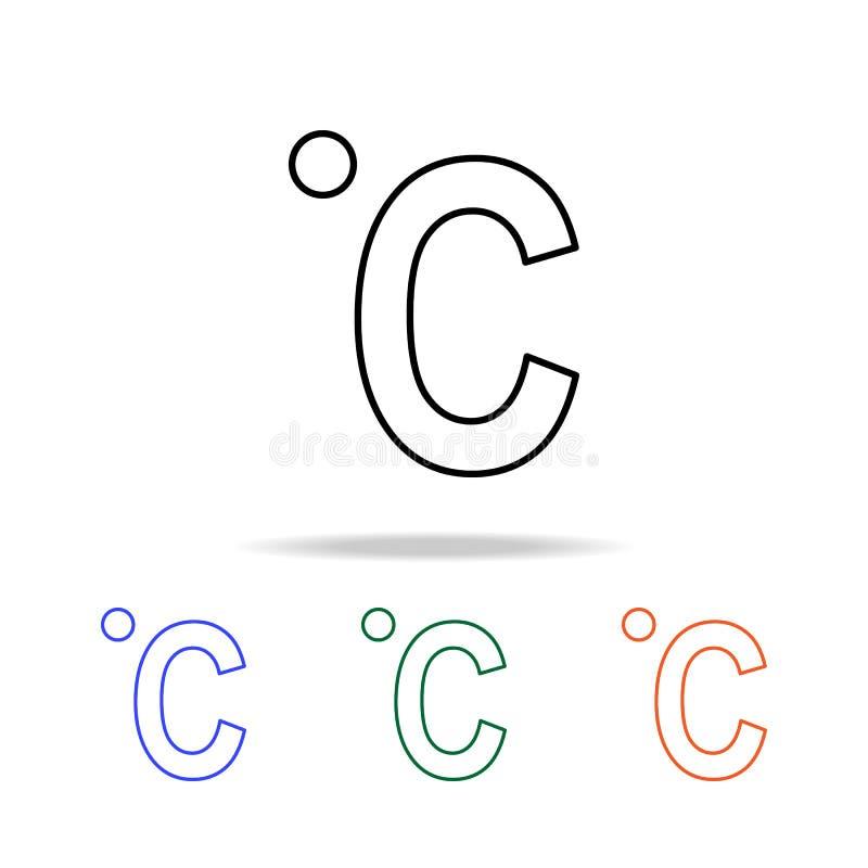 摄氏象 简单的网象的元素在多颜色的 优质质量图形设计象 网站的简单的象,网 皇族释放例证