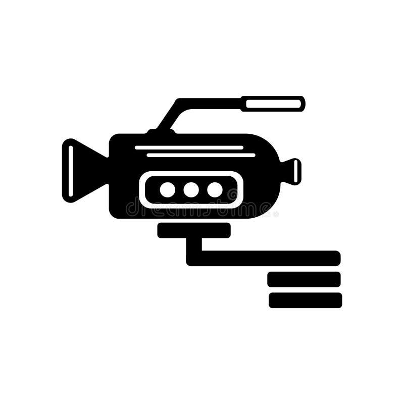 摄象机侧视图象在w和标志隔绝的传染媒介标志 向量例证