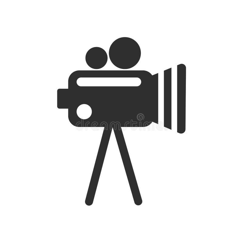 摄象机象在白色背景和标志隔绝的传染媒介标志,摄象机商标概念 库存例证