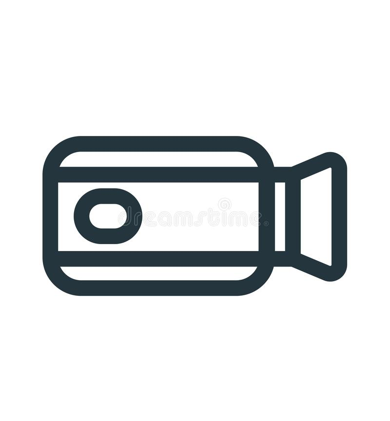 摄象机象在白色背景和标志隔绝的传染媒介标志,摄象机商标概念 皇族释放例证