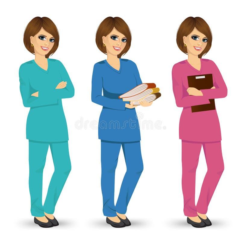 摆在三不同颜色的护士洗刷制服 向量例证