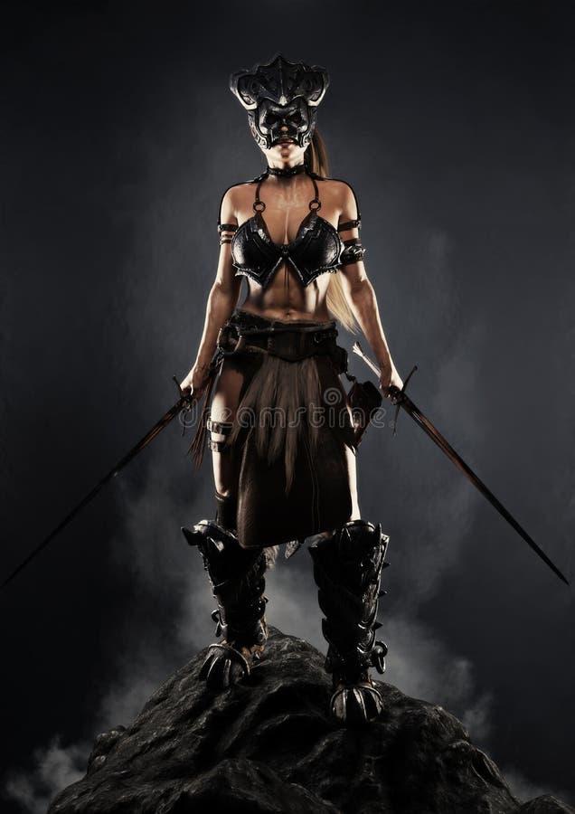 摆在与在岩石露头的两把剑的一个剧烈武装的女性战士的画象有黑背景 库存例证