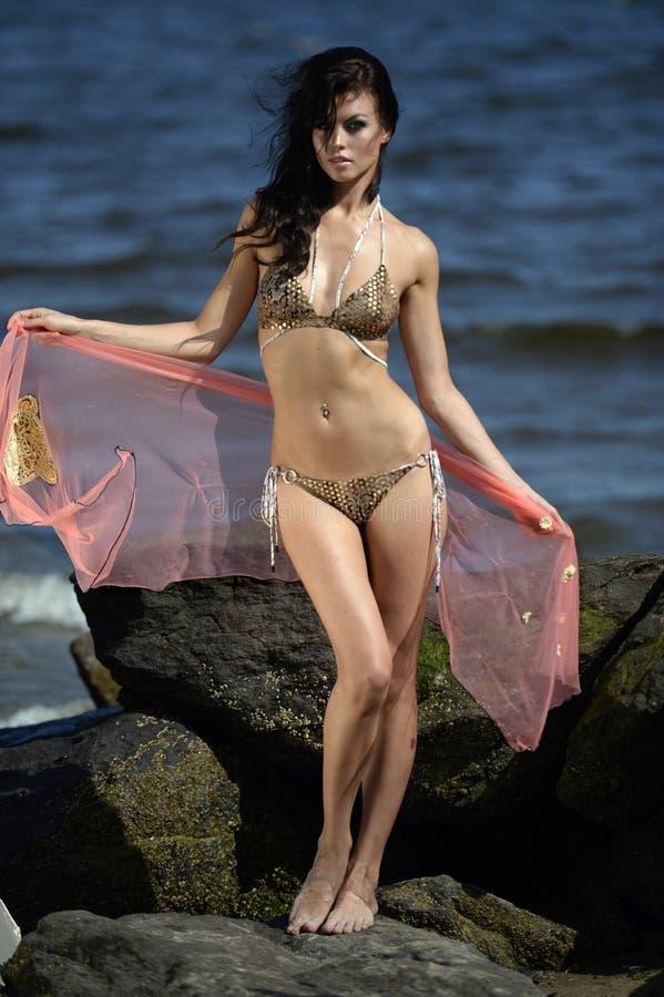 摆在与岩石的背景的海滩和海洋的美好的时装模特儿 库存图片