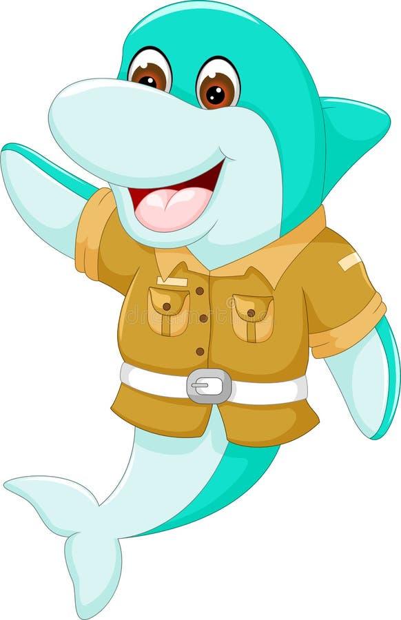 摆在与微笑和挥动的逗人喜爱的海豚动画片 向量例证