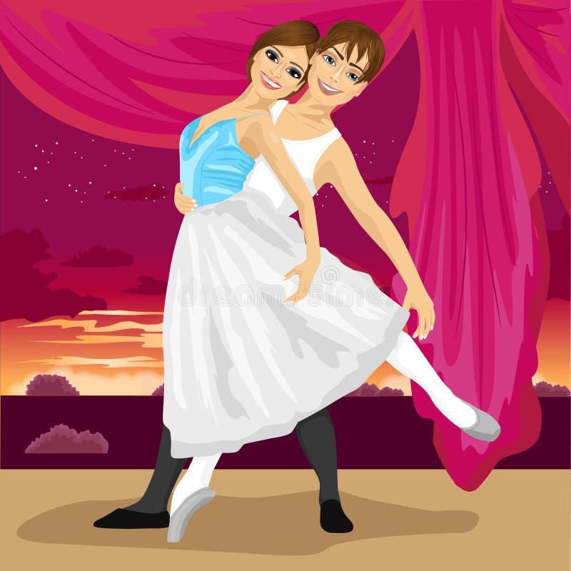 摆在与晚上日落的风景的跳芭蕾舞者夫妇  库存例证