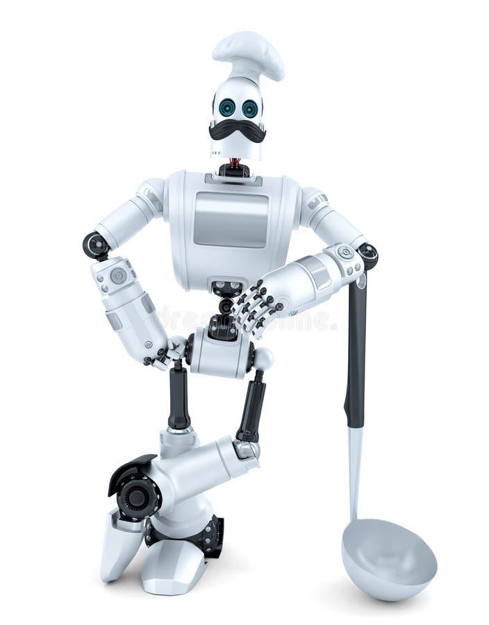摆在与汤杓子的机器人厨师 3d例证 查出 Co 向量例证