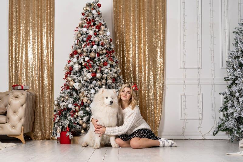 摆在与白色狗的美丽的白肤金发的女孩 库存照片