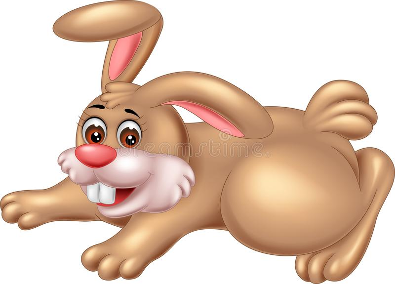 摆在与笑的逗人喜爱的兔子动画片 库存例证