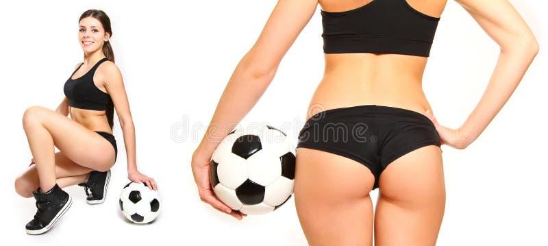 摆在与足球的少妇 库存照片