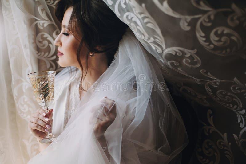 摆在丝绸长袍的美丽的时髦的深色的新娘在与香槟玻璃的面纱下早晨 愉快的妇女模型与 免版税库存照片