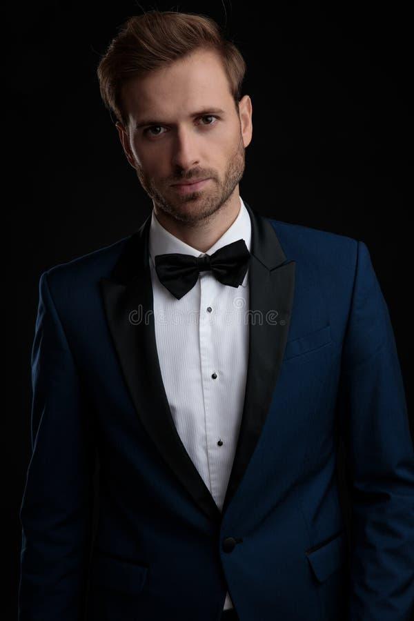 摆在严肃的看的新郎,当穿一套蓝色无尾礼服时 库存照片