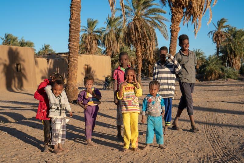 摆在为一张图片的好奇努比亚人孩子在Abri,苏丹- 2018年12月 免版税图库摄影