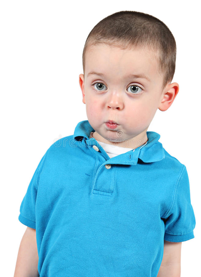 摆在为照相机的逗人喜爱的小男孩 库存照片