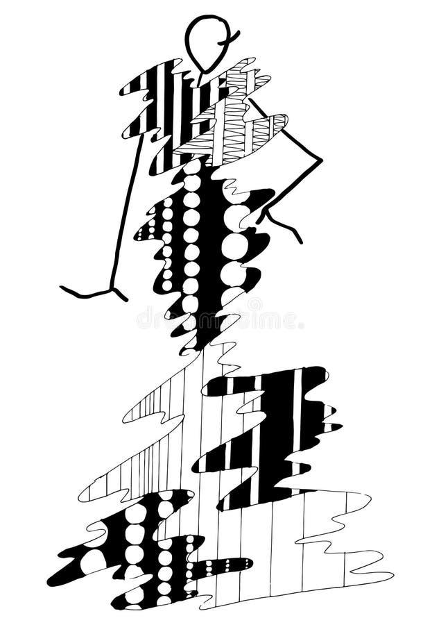摆在仿照与几何元素的一个抽象样式样式的晚礼服时尚剪影在黑白图表 向量例证