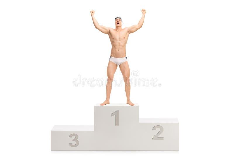 摆在优胜者` s垫座的年轻英俊的游泳者 库存图片