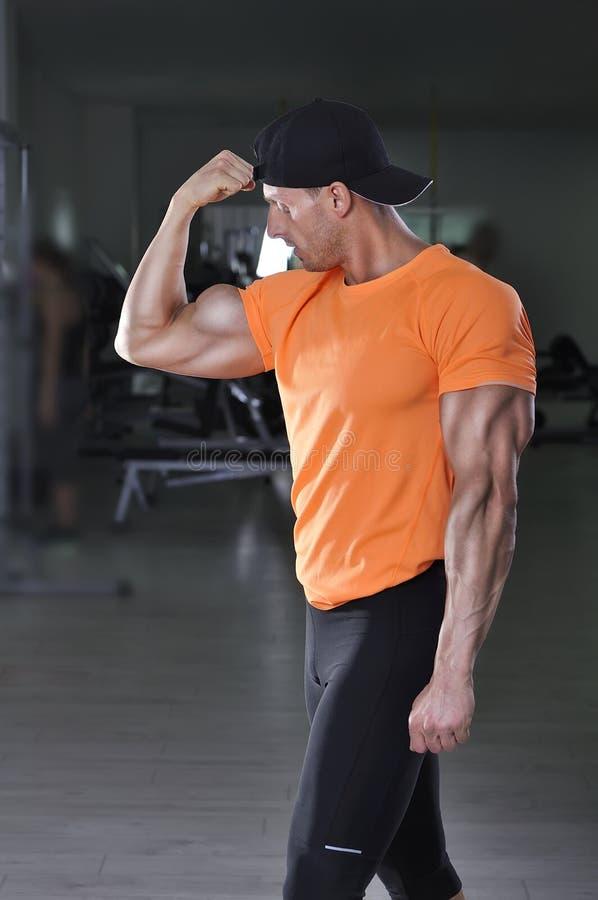 摆在健身房的英俊的强有力的运动人 库存照片