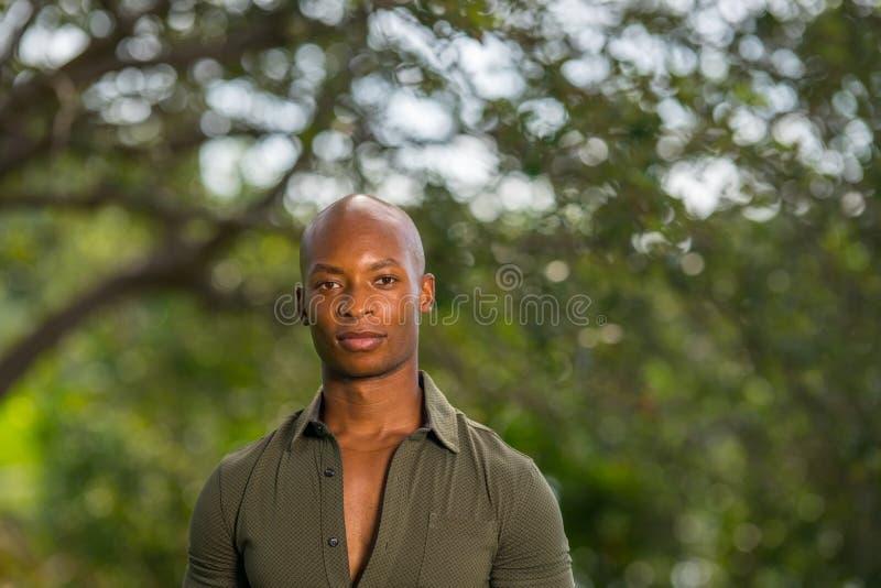 摆在公园场面的英俊的非裔美国人或牙买加男性模型特写画象  免版税库存照片