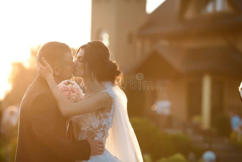 摆在公园的愉快的新婚佳偶时髦的夫妇在他们的婚礼之日 白色礼服的华美的愉快的深色的新娘亲吻 库存图片