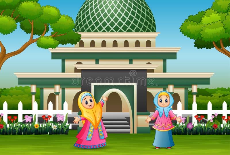 摆在前面清真寺的动画片回教妇女 库存例证