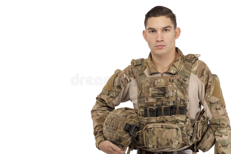 摆在反对白色背景的严肃的战士 库存图片