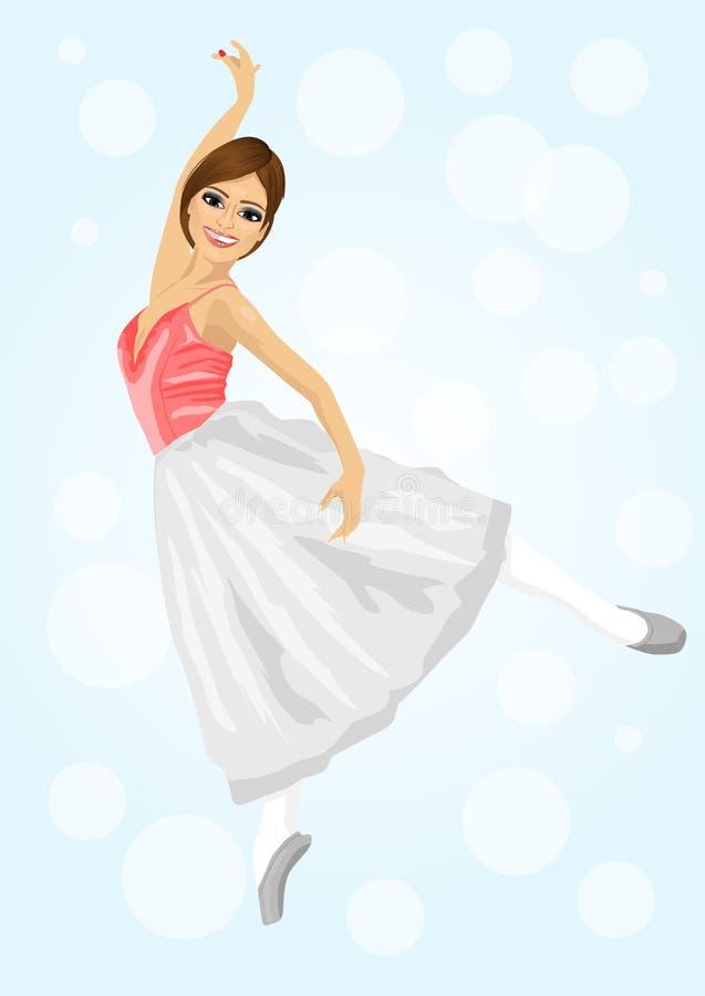 摆在和跳舞在蓝色bokeh背景的年轻美丽的芭蕾舞女演员 库存例证