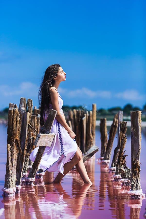 摆在咸桃红色湖的长的白色礼服的美丽的少女 库存照片