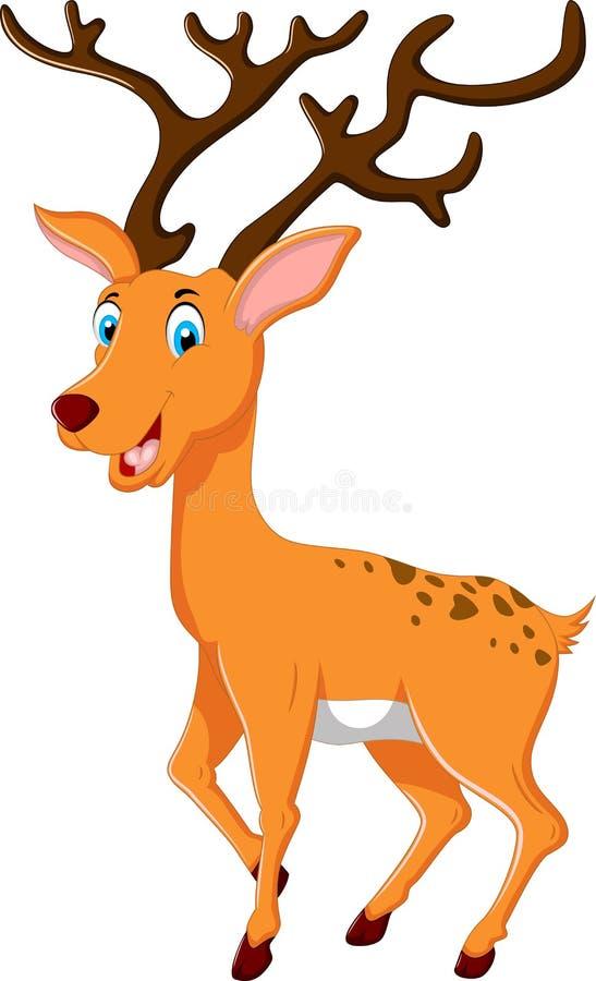 摆在密林的逗人喜爱的鹿动画片 库存例证